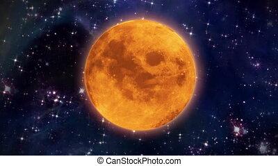 pumpkin moon in the space