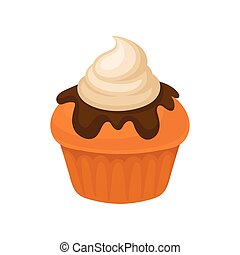 Pumpkin muffin, traditional Thanksgiving Day food vector Illustration on a white background