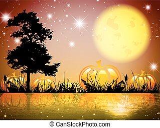Pumpkin Night Lake - Abstract Pumpkin Halloween Moon Night...