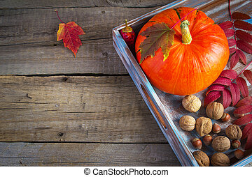 Pumpkin, nuts and autumn leaves. with space for text