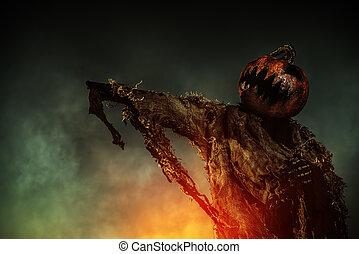 pumpkin on a man
