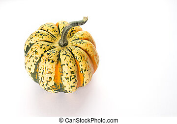 Pumpkin on a white background. Top view