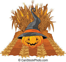 Pumpkin on corn maze
