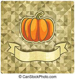 pumpkin on geometric background