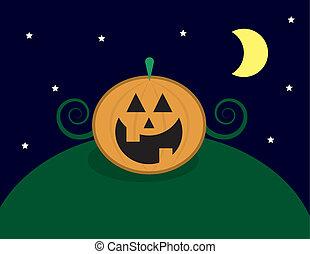 Pumpkin On Hill