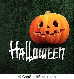 Pumpkin on the chalkboard with Halloween lettering