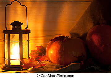 Pumpkin on the table - Beautiful pumpkin and candle lantern...