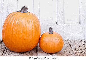 pumpkin on wooden plank