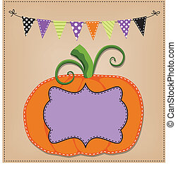 Pumpkin or jack o lantern template or layout with bunting...