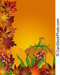 Pumpkin Ornamental Corn and Fall Leaves - Pumpkin Ornamental...