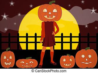 Pumpkin Patch Girl and Pumpkin Family