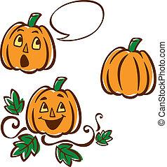 Illustration of a pumpkin on a vine, a pumpkin with a bubble, and a plain pumpkin. Elements are interchangeable