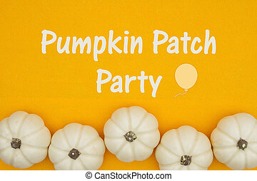 Pumpkin Patch party invite with white pumpkins