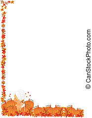 Little girl in pumpkin patch with a child's pilgrim hat on, with fall leaves falling down..