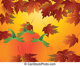 Pumpkin Patch with Fall Leaves Illustration