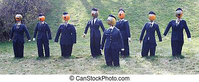 Pumpkin people - businessmen in suits