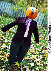 Pumpkin person in a suit