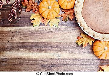 Pumpkin Pie and Autumn Leaves