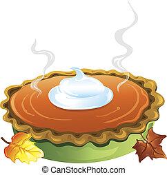 Pumpkin Pie - Illlustration of a hot homemade pumpkin pie...
