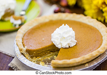Pumpkin pie - Freshly baked pumpkin pie from the local...