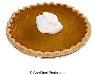 Isolated image of a pumpkin pie with whipped cream on top. This image also contains a path.