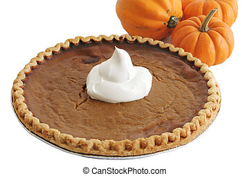 Pumpkin Pie & Pumpkins - A pumpkin pie with whipped cream...