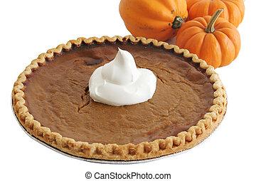 Pumpkin Pie & Pumpkins - A pumpkin pie with whipped cream...