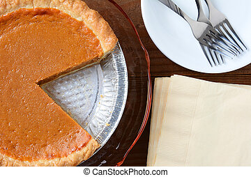 Pumpkin Pie Slice Cut Out - Overhead view of a holiday...