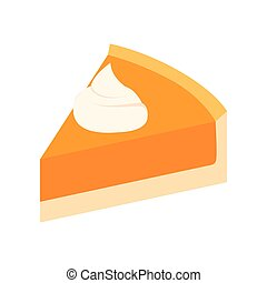 Pumpkin pie slice isometric 3d icon on a white background