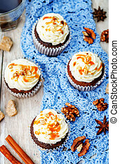 pumpkin pie spices walnuts banana cupcakes with salted...