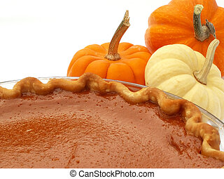 pumpkin pie with mini pumpkins