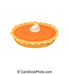 Pumpkin pie, traditional Thanksgiving food vector Illustration on a white background