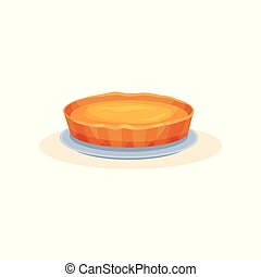 Pumpkin pie, traditional thanksgiving pie vector Illustration on a white background
