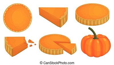 Pumpkin pie vector illustration on white background. Vector cartoon set icon thanksgiving cake. Isolated cartoon set icon pumpkin pie.