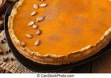 Pumpkin pie with cinnamon. - American pumpkin pie with...