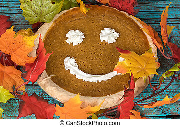 pumpkin pie with happy face