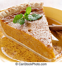 pumpkin pie with mint garnish.