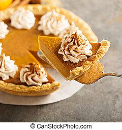 Pumpkin pie with whipped cream - Sweet pumpkin pie decorated...