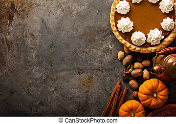 Pumpkin pie with whipped cream - Sweet pumpkin pie decorated...