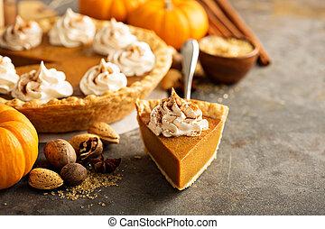 Pumpkin pie with whipped cream - Sweet pumpkin pie slice...
