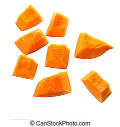 Pumpkin pieces cut in a cube slice isolated on white ...