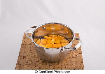 Pumpkin pieces in pots