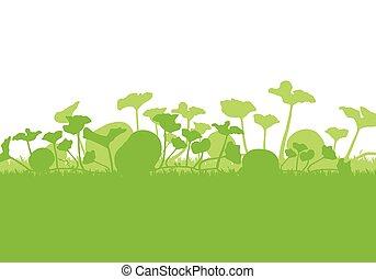 Pumpkin plants field vector background ecology green concept