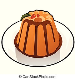 Pumpkin pudding with chocolate topping isolated on white background. Illustration for a recipe book of tasty and healthy food. Cartoon vector close-up.
