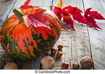 Pumpkin, purple leaves and nuts on an old wooden background