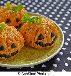 Pumpkin Rice Ball Jack O Lanterns for Halloween party
