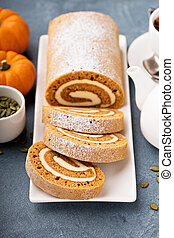 Pumpkin roll with cream cheese frosting and spiced tea