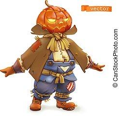 Pumpkin scarecrow. Happy Halloween. 3d vector cartoon character