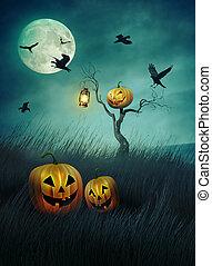 Pumpkin scarecrow in fields of grass at night