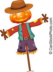 Pumpkin Scarecrow isolated on white background